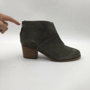 Toms Womens Booties Green Block Heels Size 11 New